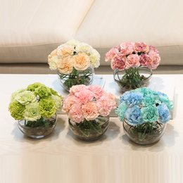 Wholesale Wedding Glass Vase Set - Flower Bonsai carnations artificial flowers set potted plant flower Ceramic glass vase home decoration Mother's day gift