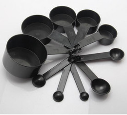 Wholesale Wholesale Plastic Cups For Coffee - Black Plastic Measuring Cups 10pcs lot Measuring Spoon Kitchen Tools Measuring Set Tools For Baking Coffee Tea