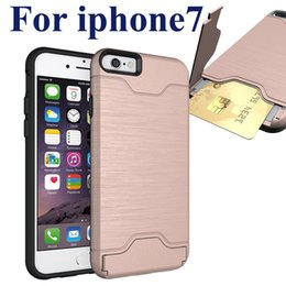 Wholesale Hard Back Case Plastic - For iPhone 7 Plus case Card Slot Case Note 7 Armor hard shell back cover with kickstand case for samsung note 5 SCA211