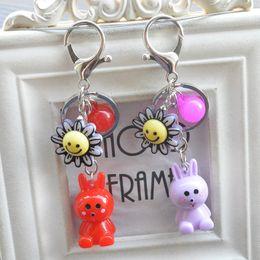 Wholesale Little Plastic Balls - High quality Cartoon cute little rabbit doll couple key chain car bag pendant phone ornaments KR339 Keychains mix order 20 pieces a lot