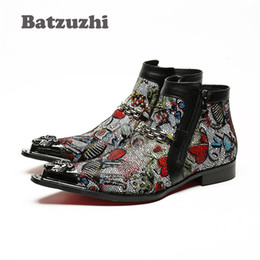 Wholesale Colorful High Heels - Batzuzhi Italian Style Handmade Men Boots Pointed Iron Toe Designer Short Boots Leather Zipper High Help Men's Boots Colorful