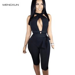 Wholesale Nightclub Jumpsuits For Women - Wholesale-Summer New Fashion Nightclub Sexy Rompers Womens Jumpsuit Bodycon Bandage Jumpsuit One Piece Rompers For Women Night Club Wear