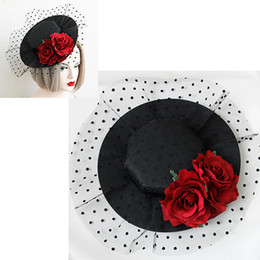 Wholesale Ladies Veiled Hat - Elegant Lady Women Vintage Rose Flower Mesh Veil Fascinator Hat Pin Clips Headdress Hair Clip Cosplay Party Hair Barrettes