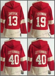 Wholesale Detroit Red Wing Sweatshirt - Detroit Red Wings #13 Pavel Datsyuk Red Hooded Sweatshirt Hockey Jackets New Style All Teams Outdoor Uniform size 48-56 free shipping