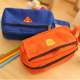Wholesale School Supply Wholesales - Wholesale-Fashion Cute Pencil Bags Children Marvel Heroes Fabric Zipper Fly Big Pencil Cases Boxes School Office Supplies