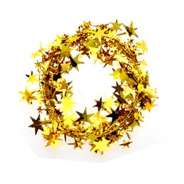 Wholesale Plastic Christmas Hanging Ornament - 1Pcs Christmas Tree Hanging Star Pine Garland Christmas Decoration Ornament 5 Colors 5m Free Shipping