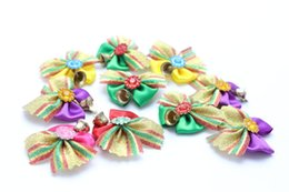 Wholesale Pet Hair Tie - 100pcs lot Hot sale Pet Dog Christmas Holiday Hair Bows Dog Hair Accessories Hair Tie Pet Grooming Products
