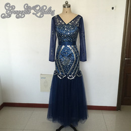 Wholesale Royal Blue Shoes Evening - 2016 Real Image Mermaid Prom Dresses Long Navy Blue Sleeve Party Evening Shoes V Neck Backless Zipper Crystal Beads Sequins Floor Length
