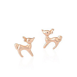 Wholesale Gold Earrings For Babies - Wholesale Earings Fashion Jewelry Cute Running Baby Deer Stud Earrings For Women Girls Kids With 3 Colors Birthday Gift