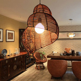 Wholesale Modern Lamps Restaurants - Rattan Pendant Lamps Modern Pastoral Escargots Pendant Lights Fixture Southeast Asian Snail Hotel Restaurant Dining Room Cafes Drop Light