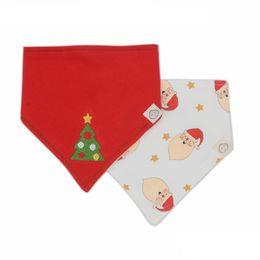 Wholesale Christmas Baby Bibs Burp Cloths - Christmas Baby Bibs Cotton Cartoon Santa Claus Xmas Tree Printed Infant Newborn Baby Saliva Towel Winter Boys Girls Triangle Burp Cloths 851