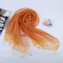 Wholesale Wholesale Designer Silk Scarves Women - Christmas Gift High Quality Fashion Designer Real Silk Scarves Solid Color Silk Floss Women Autumn Winter Scarves Windproof Pure Silk Scarf