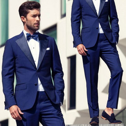 Wholesale High Quality Tuxedos - 2016 Blue Slim Fit Groom Tuxedos Two Pieces Custom Made Formal Men Business Suit High Quality Men Wedding Suits