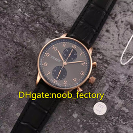 Wholesale Automatic Portuguese Watches - New Luxury High Quality AAAAA Rose Gold Portuguese Chronographe Automatic ETA 7750 Mens Watch 82 Gray Dial Leather Strap Gents Watches