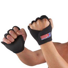 Wholesale Finger Support Gloves - 1 Pair Sports Fitness Hand Half Finger Brace Support Wrap Gym Gloves Men Women Black SX670