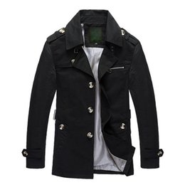 Wholesale Windbreaker Button Down - Wholesale- new arrival autumn and winter men's turn down collar plaid lining middle length trench coat cotton casual windbreaker jackets