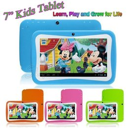 Wholesale Capacitive Kids Tablet - 7 Inch HD Screen Quad Core Children Kids Tablet PC 8GB RK3126 Android 5.1 1024*600 Dual Cameras Educational Games App Birthday Gift