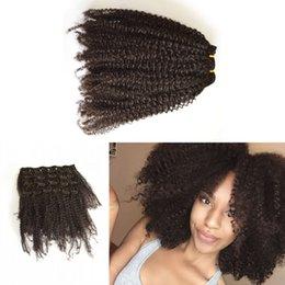 Wholesale Malaysian Curly Hair Free Shipping - Free shipping Clip In Human Hair Extensions Cambodian Virgin Hair Afro Kinky Curly Clip in Hair Extensions Natural Black G-EASY