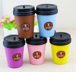 Wholesale Cake Coffee Cups - Cute Squishy Coffee Cup Slow Rising Jumbo Milk Phone Strap Kawaii Pendant Soft Stretchy Bread Cake Kids Fun Toy OOA2830