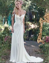 Wholesale Chiffon Beading Wedding Dress - 2017 Spring Elegant Beach Wedding Dresses Spaghetti Straps Beading Pleated Chiffon Long Sheath Sweep Train Bridal Gowns Custom Made