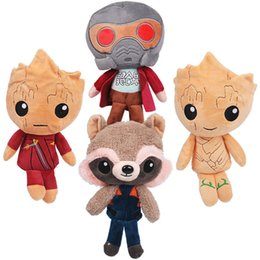Wholesale Plush Raccoon Toy - 20cm Guardians of the Galaxy Vol 2 Star-Lord Baby Groot Rocket Raccoon Plush Dolls Toys Stuffed Kids Toys Christmas Gift for Kids 4 styles