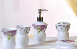 Wholesale Tooth Holders - 5pcs European Peony Style Ceramic Bathroom Set Tooth Brusher Holder ,Household Wash Brush Cup ,Soap Dishes ,Lotion Bottle