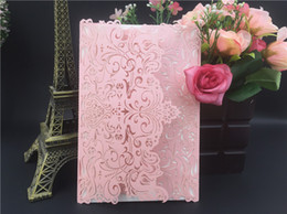 Wholesale Green Invitation Cards - New Arrival Pink Blush Flowers Wedding Invitations Cards Laser Cut invitation Card for Birthday Party A++ Quality