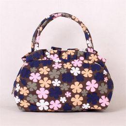 Goldschalenkupplung online-Designer Handtaschen Totes Taschen Frauen Leinwand Muscheln Nette Damen Blumen Kleine Handtasche Reisegepäcktasche Damen Einfache Mode Kupplung