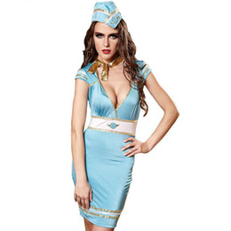 Blaues sexy spiel online-Sexy Kostüme Blaue Stewardess Uniform Mit Gorro Deguisement Adultes Für Rollenspiele Disfraces Mujer Pyjamas Erotische Deep V Kleider