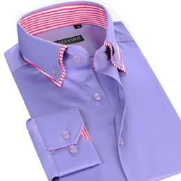 Wholesale Button Up Shirt Men - Wholesale-Autumn New 2016 100% Cotton Men Dress Shirts Long Sleeve Patchwork Double Collar Button-Up Business Men Casual Shirts