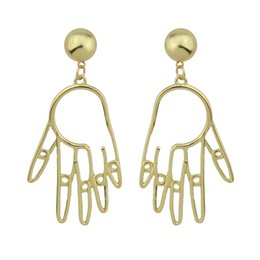 Wholesale Hand Accessories For Women - Bohemia Style Dangle Earrings Gold-Color Hollow Out Hand Pattern Drop Earrings For Women Accessories Fashion Jewelry