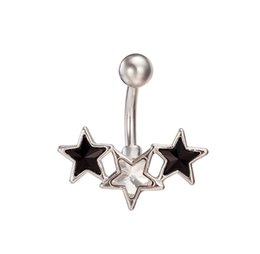 Wholesale Young Girl Fashion Sexy - New fashion Design 3 Stars Navel Belly Button Ring Bar Rhinestone Jewelry Piercing for Sexy Young Lady