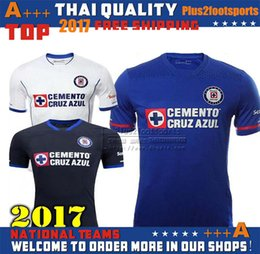 Wholesale Thailand Jerseys - 2017 Thailand Quality Liga MX Cruz Azul Home Blue Away White Black Soccer Jerseys 17 18 Best Quality GIMENEZ CROSAS ROJAS Football Shirts