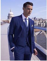 Wholesale Stylish Groom Vests - New Stylish Slim Fit Royal Blue Groom Tuxedos Notched Lapel Two Button Men's Wedding Dress Prom Clothing Business suit(Jacket+pants+tie+Vest