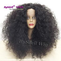 Большие парики волос волны онлайн-Новое поступление большой афро вьющиеся волосы парик черная женщина натуральная волна прическа синтетические парики фронта шнурка для чернокожих женщин