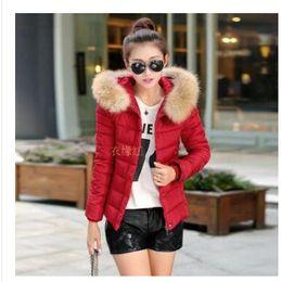 Wholesale Thin Cotton Spandex Shorts - 2016 winter new women's cotton padded female short paragraph Slim thin coat jacket hooded fur collar coat female winter jacket