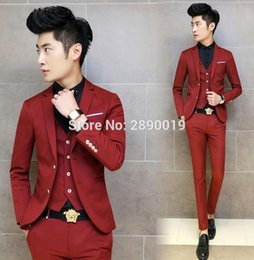 Wholesale High End Red Wine - Wholesale- High-End Custom Men Suits Blazer Slim Fit Wedding Groom Wine Red British Youth Fashion Business Shiny Single men suits