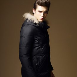 Wholesale Duck Down Feather Jacket - Feather Jacket Men Outdoor Warm Coat Fur Collar White Duck Down Parkas Hooded Thicking Outwear Slim Portable Male Winter Clothes