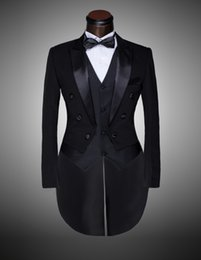 Wholesale Best Wedding Dresses Suits - Wholesale-Custom Brand New cool Groom Tuxedos Men Wedding Dress Bridegroom Suit Best man Suit swallow-tailed coat (Jacket+Pants+tie+waist)