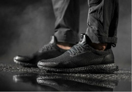 "Wholesale Blue Reflective Fabric - New Arrival HAVEN X ULTRA BOOST Uncaged ""TRIPLE BLACK"" Men Sneakers Cageless Reflective Toebox Black Women Running Shoes Footwear"