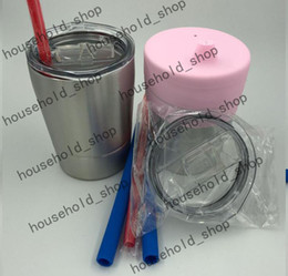 Wholesale Kids Tumblers Wholesale - Stemless Tumbler Wine Glass 2pcs 9oz kids cup + 2pcs silicone straws + 2pcs Silcone Sippy Covers In box Stainless Steel Wine Mugs