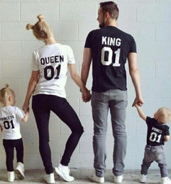 Wholesale Mother Son Sets - 2016 New Family King Queen 01 Print Shirt,100% Cotton t shirt Mother and Daughter father Son Clothes Princess Prince sets parent-child