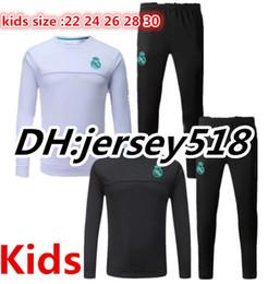 Wholesale Black Children Tracksuits - 17 18 Real Madrid kids survetement jacket Training suit soccer Jersey RONALDO SERGIO RAMOS MODRIC ISCO ASENSIO MARCELO Children tracksuits