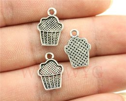 Wholesale Wholesale Cupcake Charm - Wholesale-WYSIWYG 10pcs 15*10mm antique silver plated cupcake charms