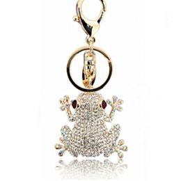Wholesale Key Chain Frog - 2015 New fashion design delicate bijoux frog with rhinestone key chains for men & women as valentine gift bijoux jewelry