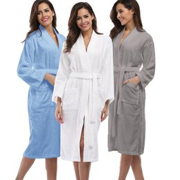 Wholesale Thick Warm Sleepwear - Wholesale- Winter Thick Warm Women Robes 2017 Solid Cotton Sleepwear Long Robe Woman Hotel Spa Plush Long White Bathrobe Nightgown Kimono