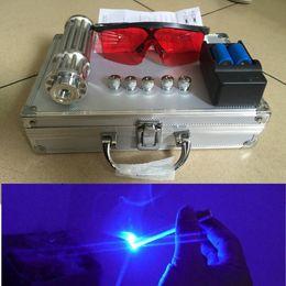 Wholesale Led Pattern Glasses - Led Flashlight Blue Laser Pointer Light Burning Cigarette And Matchstick Torch +5 * Pattern +16340 Battery +Charger +Box +Glasses