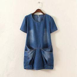 Wholesale Dresses Xx - Women Summer Dresses 2016 4XLwomen denim loosen knee length brief summer dress plus size european big pocket vintage causal dresses woman XX