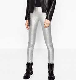 Wholesale Women Skinny Toned - Woman 2016 New Fashion SILVER-TONED Cropped leggings High waisted Zips at the side and cuffs Skinny elastic Trousers
