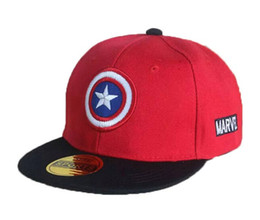 Wholesale Kids Boys Baseball Hat - Retail Unisex Children Baseball Caps Captain America Adjustable Kids Boys Girls Flat Brim Baseball Hats MZ3724 Free Shipping